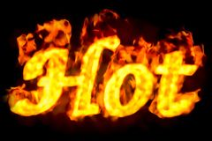 Fire hot inscription, 3D. Rendering Royalty Free Stock Photography