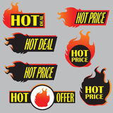 Fire hot price labels vector Royalty Free Stock Photography