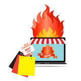Fire hot sale and Online shopping  concept.  Royalty Free Stock Photo