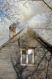 Fire in house. Fire in old wooden house Royalty Free Stock Photos