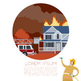 Fire in the house banner. Vector imageof the Fire in the house  and  an Fireman Stock Image