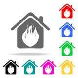 Fire in the house icon. Elements of real estate in multi colored icons. Premium quality graphic design icon. Simple icon for websi. Tes, web design, mobile app Royalty Free Stock Photos