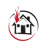 Fire on the house icon Stock Photo