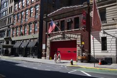 Fire house Ladder 3 involved in NYC 911 attacks -2. Fire House Ladder 3 in the East Village whose first responders died in the 911 attacks stock images