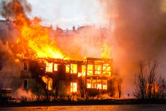 Fire in a house Royalty Free Stock Photography