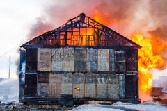 Fire in a house Stock Image