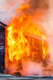 Fire in a house Royalty Free Stock Image