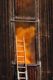 Fire in a House with thick orange smoke Royalty Free Stock Images