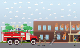 Fire in the house vector illustration in flat style. Vector illustration of firefighters in protective clothing and helmets extinguishing fire in the house Stock Photo