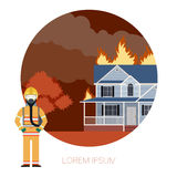 Fire in the house 2. Vector imageof the Fire in the house  and  an Fireman Stock Photos