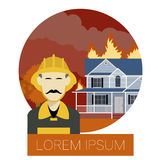 Fire in the house 1. Vector imageof the Fire in the house  and  an Fireman Stock Images