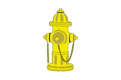 Fire Hydrant. Isolated yellow fire hydrant drawing Stock Photo