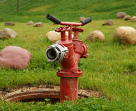 Fire hydrant. On a green grass Stock Photo