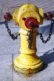 Fire Hydrant. An image of a yellow fire hydrant in a urban side walk royalty free stock image