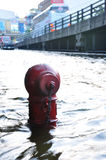 Fire Hydrant in BANGKOK, THAILAND - NOVEMBER 04. BANGKOK, THAILAND - NOVEMBER 04 :  : Heavy flooding from monsoon rain in Ayutthaya and north Thailand arriving Royalty Free Stock Photos