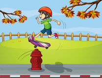 A fire hydrant and a boy playing skate board. Illustration of a fire hydrant and a boy playing skate board Stock Photography