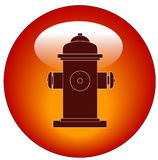 Fire hydrant button or icon. Red fire hydrant web button or icon - vector Royalty Free Stock Images