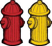 Fire Hydrant Cartoon. Red and yellow fire hydrant illustrations over white background Royalty Free Stock Photos