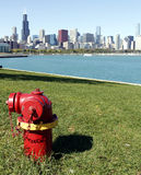 Fire hydrant with Chicago Skyline Stock Photography