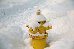 Fire hydrant covered with snow Royalty Free Stock Photography