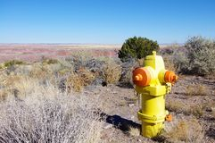 Fire hydrant in the desert. A fire hydrant in the middle of the desert Royalty Free Stock Images