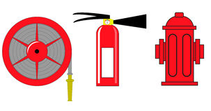 Fire hydrant and  extinguisher  illustration . Royalty Free Stock Image