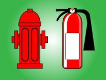 Fire hydrant and Fire extinguisher. Vector illustration .Red  isolated on green background Stock Image