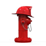 Fire Hydrant with Fireman Hat. Isolated on white background. 3D render Stock Photos