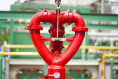 Fire hydrant heart design in factory. Fire hydrant red heart design Stock Image