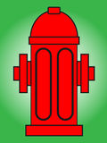 Fire hydrant. Illustration .Red  isolated on green background Stock Image