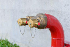 Fire hydrant manifold two outlet water valve. Stock Images