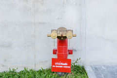 Fire hydrant manifold two outlet water valve. Stock Photo