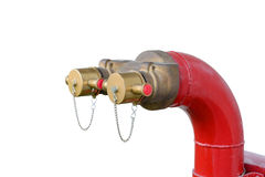 Fire hydrant manifold two outlet water valve. Royalty Free Stock Photos