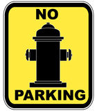 Fire hydrant - no parking. Yellow no parking near fire hydrant sign - vector Stock Photography