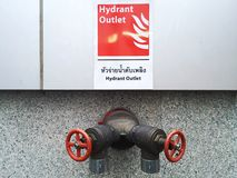 Fire hydrant outlet with water valve for the buildings in Thailand. Royalty Free Stock Image