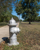 Fire hydrant painted silver Royalty Free Stock Photography