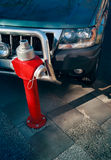 Fire hydrant parking. Bad parking - a car in front of the red  fire hydrant Stock Photos