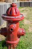 Fire hydrant. Red fire hydrant in the garden Royalty Free Stock Photo