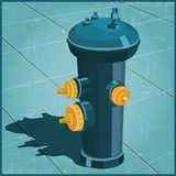 Fire hydrant retro style. Stylized vector illustration of a fire hydrant in retro poster style Royalty Free Stock Photo