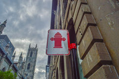 Fire hydrant sign, Montreal Royalty Free Stock Image