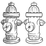 Fire hydrant sketch. Doodle style fire hydrant vector illustration Royalty Free Stock Photo