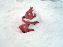 Fire Hydrant with Snow Stock Photo