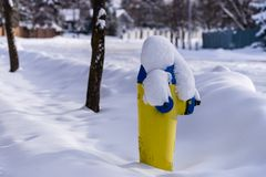 Fire hydrant in snow, city of Edmonton Royalty Free Stock Photos