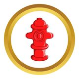 Fire hydrant vector icon. In golden circle, cartoon style isolated on white background Royalty Free Stock Photography