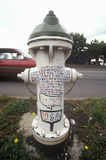 Fire Hydrant with Welcome message painted on, Fremont district, Seattle, WA Stock Image