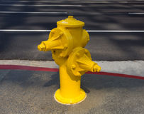 Fire hydrant yellow on downtown Los Angeles Stock Photography