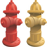 Fire Hydrants. Isolated fire hydrants in red and yellow. Created in CMYK color. EPS version 10 Stock Image