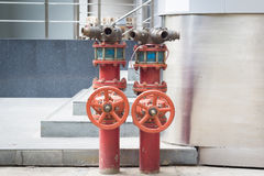 Fire Hydrants on the ground Stock Image