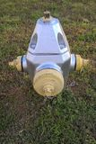 Fire Hydrants. Known as NFPA 291, it says fire hydrants using public water supply systems should be painted chrome yellow and their tops and caps should indicate Royalty Free Stock Image