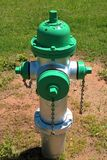 Fire Hydrants. Known as NFPA 291, it says fire hydrants using public water supply systems should be painted chrome yellow and their tops and caps should indicate Stock Photo